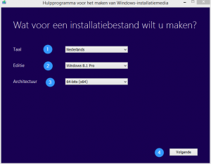 Windows usb - start scherm