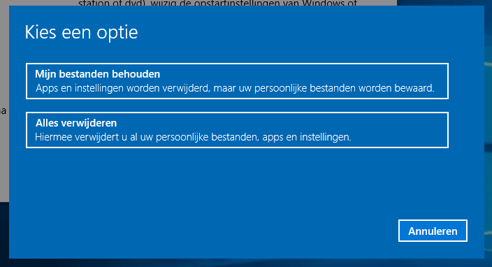 Windows 10 opnieuw installeren - opties